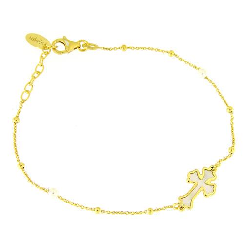 Pulsera AMEN Cruz plata 925 nácar blanco acabado dorado 1