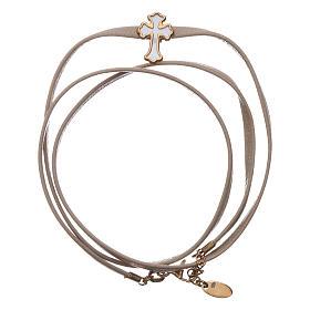 AMEN bracelets: Bracelet AMEN in leather Cross silver 925 white mother-of-pearl, Beige finish