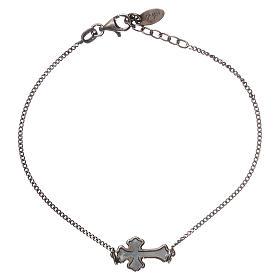 AMEN bracelets: Bracelet AMEN silver 925 gray mother-of-pearl cross, black Rhodium finish