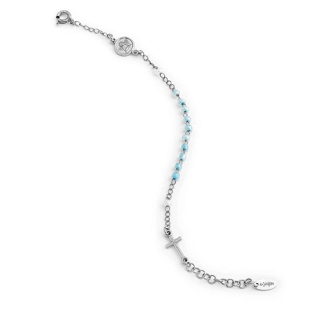 Bracciale rosario AMEN Junior perle di vetro blu argento 925 4