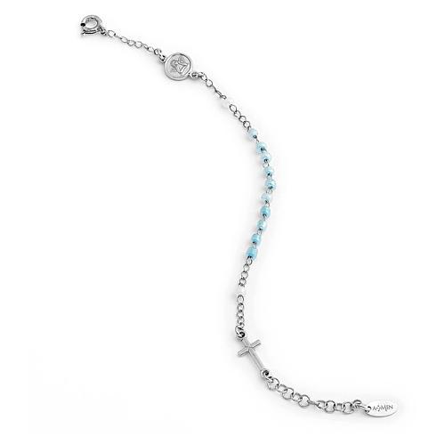 Bracciale rosario AMEN Junior perle di vetro blu argento 925 1