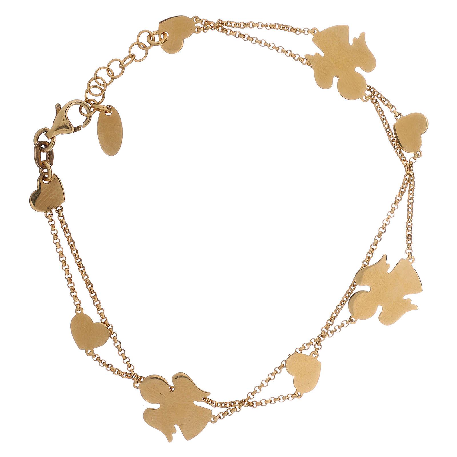 Bracelet AMEN Anges et coeurs argent 925 fin. or 4