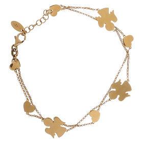 AMEN bracelets: AMEN Bracelet double chain Angels & Hearts silver 925 Gold finish