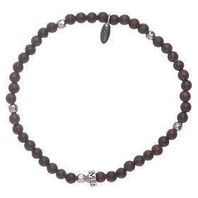 AMEN bracelets: AMEN silver bracelet with 3 mm ebony beads finished in rhodium