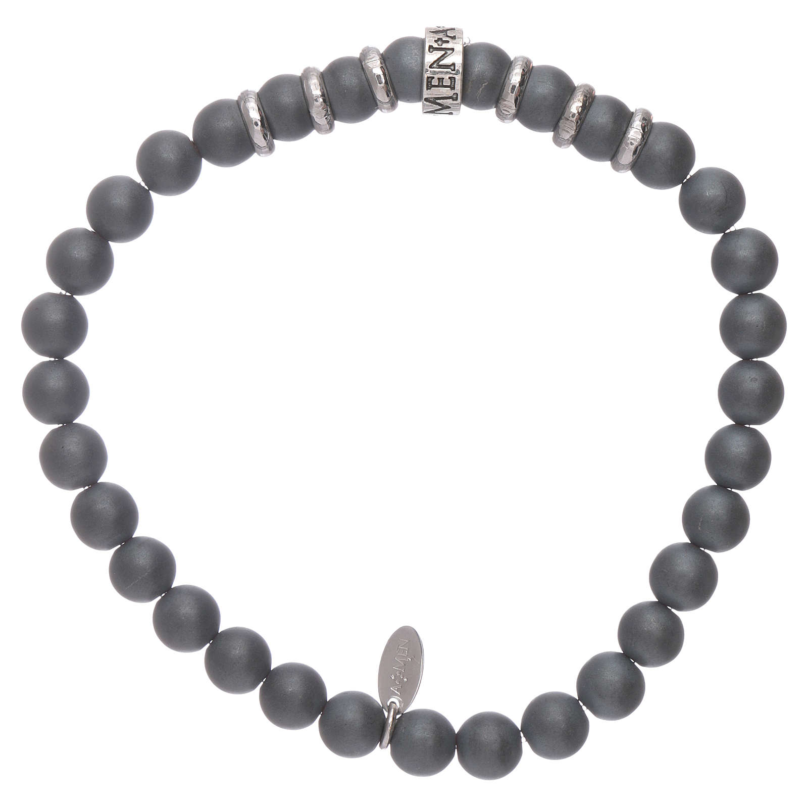 AMEN 925 sterling silver bracelet with 5 mm hematite spheres 4