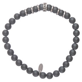 AMEN 925 sterling silver bracelet with 5 mm hematite spheres s2
