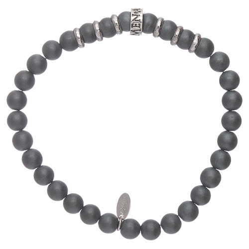 AMEN 925 sterling silver bracelet with 5 mm hematite spheres 2