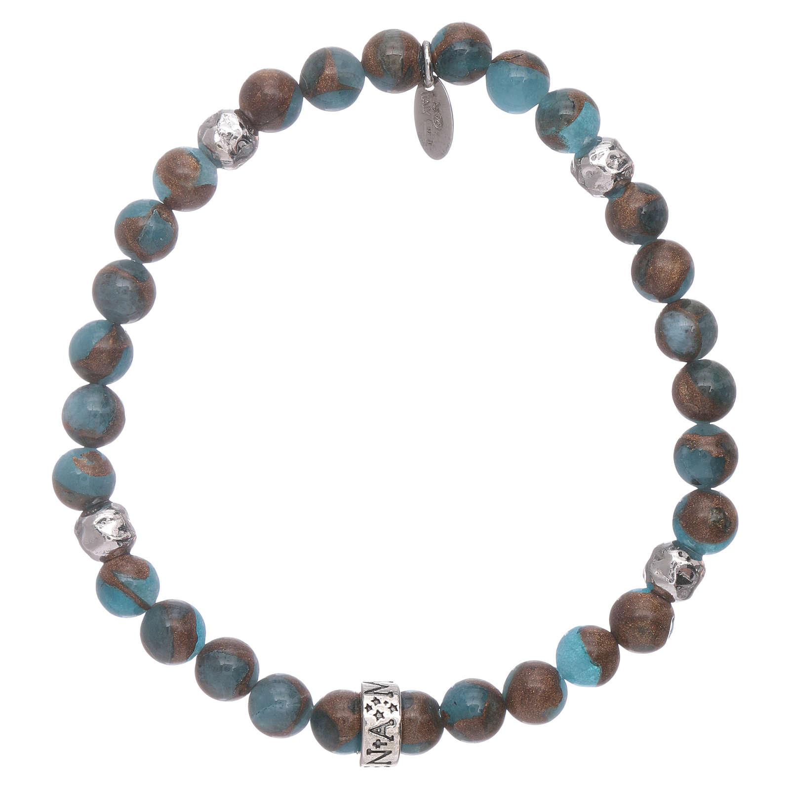 Armband AMEN hellblaue Achat und Silber Perlen 4
