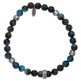 AMEN 925 sterling silver blue agate bracelet with bronzite veining s1