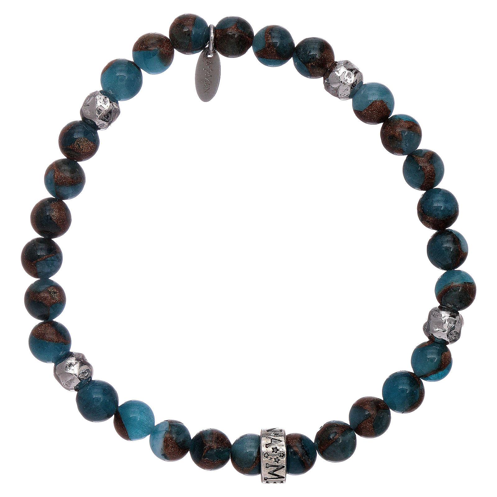 Pulseira AMEN ágata azul e nervura bronzite prata 925 4