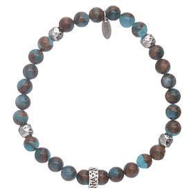 Pulseira AMEN ágata azul e nervura bronzite prata 925 s2