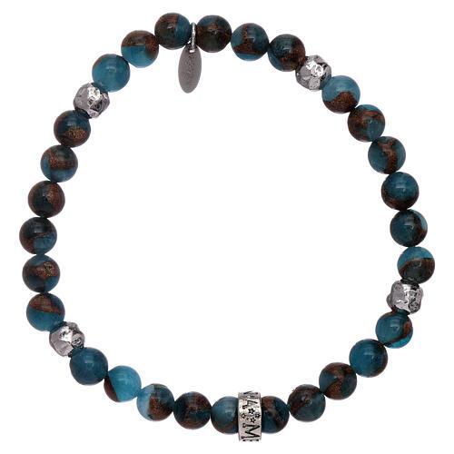 Pulseira AMEN ágata azul e nervura bronzite prata 925 1