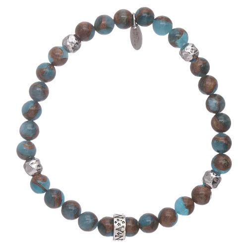 Pulseira AMEN ágata azul e nervura bronzite prata 925 2
