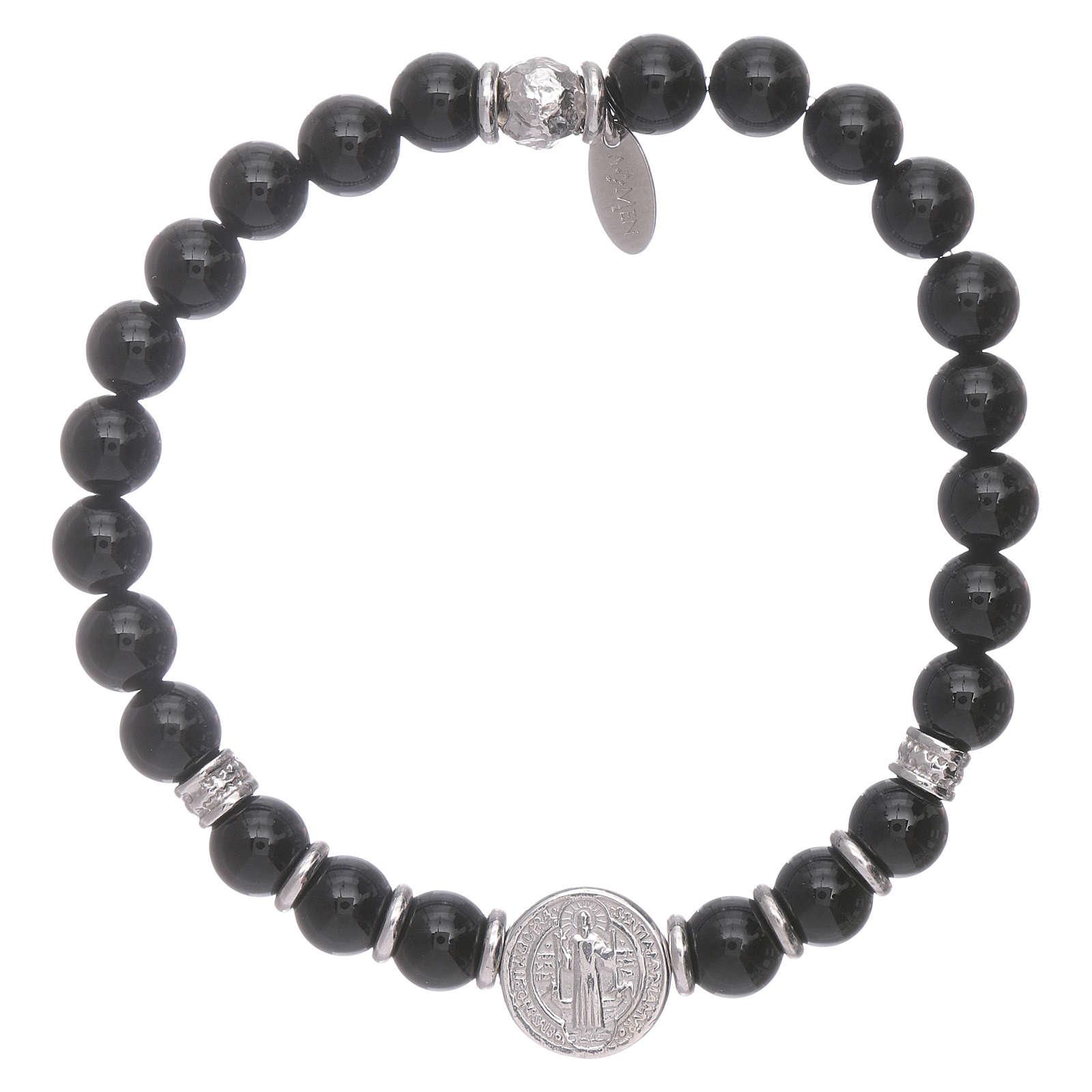Bracciale AMEN argento 925 San Benedetto e perline onice uomo 4