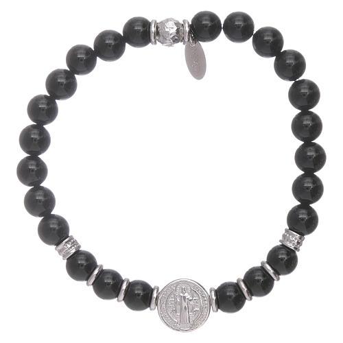 Bracciale AMEN argento 925 San Benedetto e perline onice uomo 1