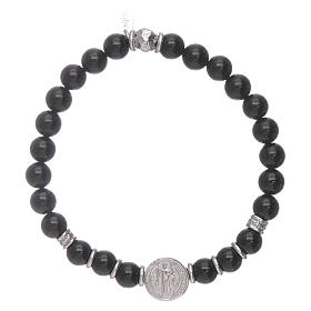 AMEN 925 sterling silver Saint Benedict bracelet with onyx beads for men s2