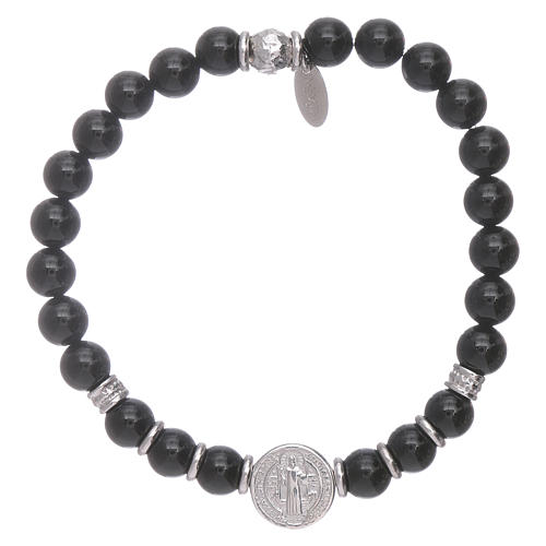 AMEN 925 sterling silver Saint Benedict bracelet with onyx beads for men 1