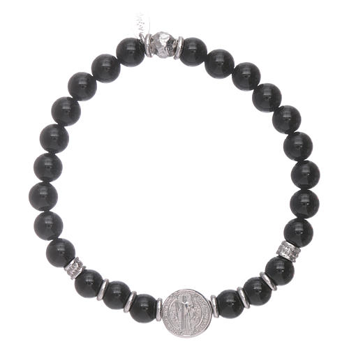 AMEN 925 sterling silver Saint Benedict bracelet with onyx beads for men 2