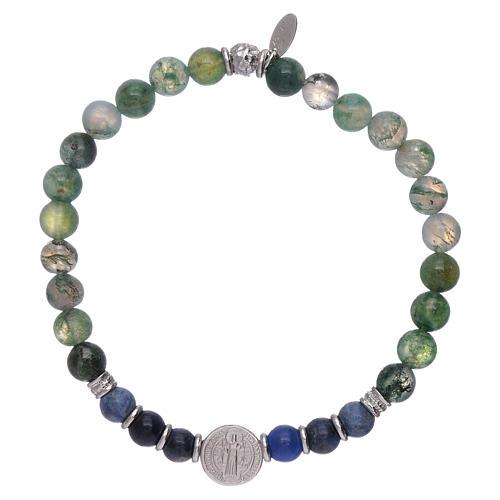 Bracciale AMEN da uomo perle onice e San Benedetto argento 925 1
