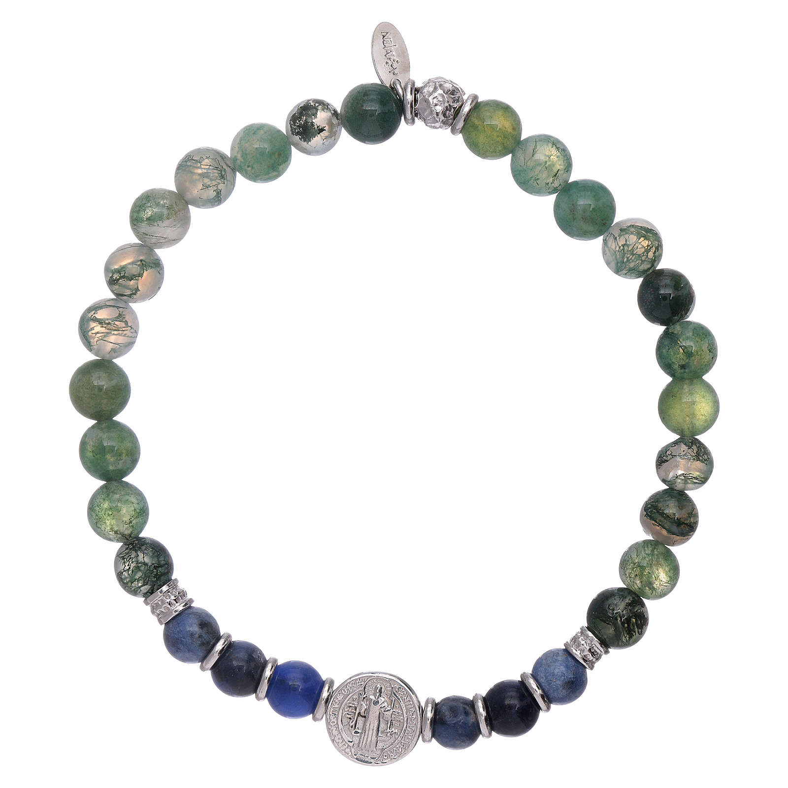AMEN 925 sterling silver Saint Benedict bracelet with onyx beads for men 4