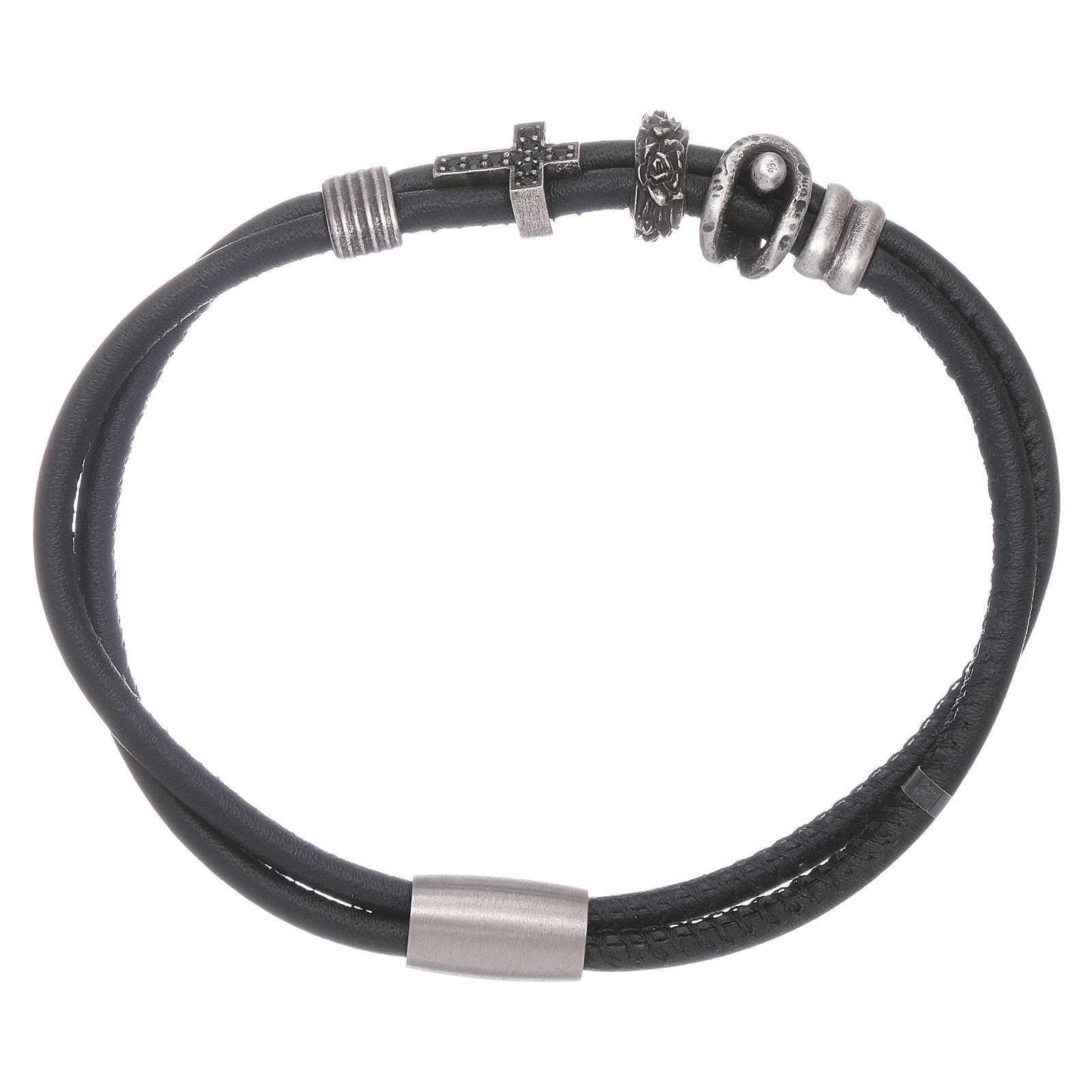 AMEN leather bracelet with bronze charms and a black zircon cross 4
