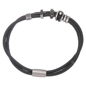 AMEN leather bracelet with bronze charms and a black zircon cross s1