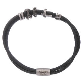 AMEN leather bracelet with bronze charms and a black zircon cross s2