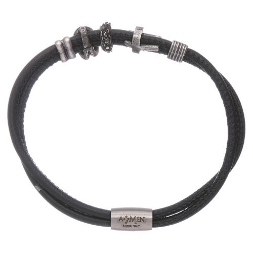 AMEN leather bracelet with bronze charms and a black zircon cross 2