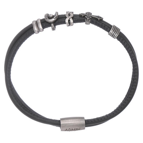 AMEN charm bracelet and bronze leather zirconate cross 1