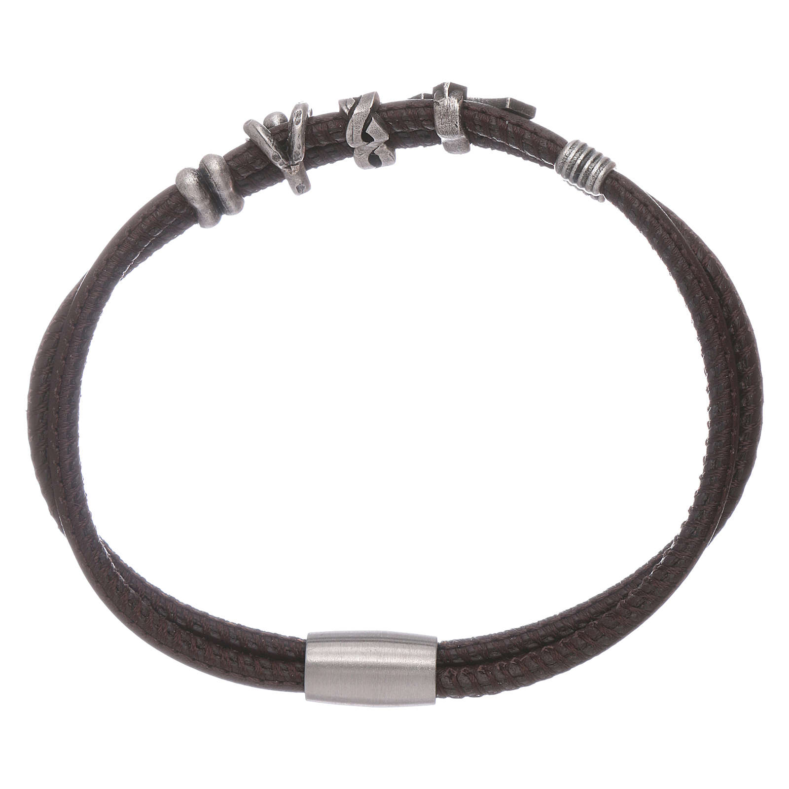AMEN leather bracelet with a zirconate cross and various bronze charms 4