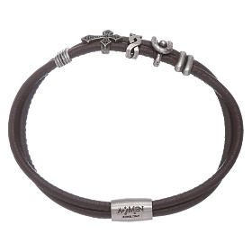AMEN bracelets: AMEN leather bracelet with a zirconate cross and various bronze charms