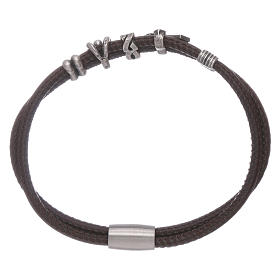 AMEN leather bracelet with a zirconate cross and various bronze charms s2