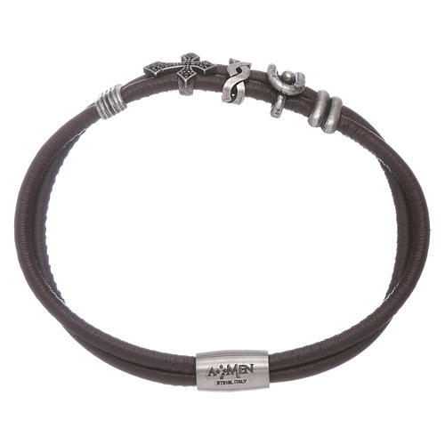 AMEN leather bracelet with a zirconate cross and various bronze charms 1