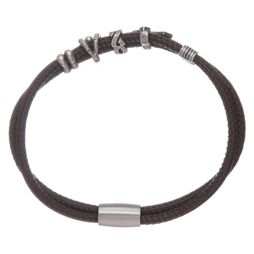 AMEN leather bracelet with a zirconate cross and various bronze charms 2
