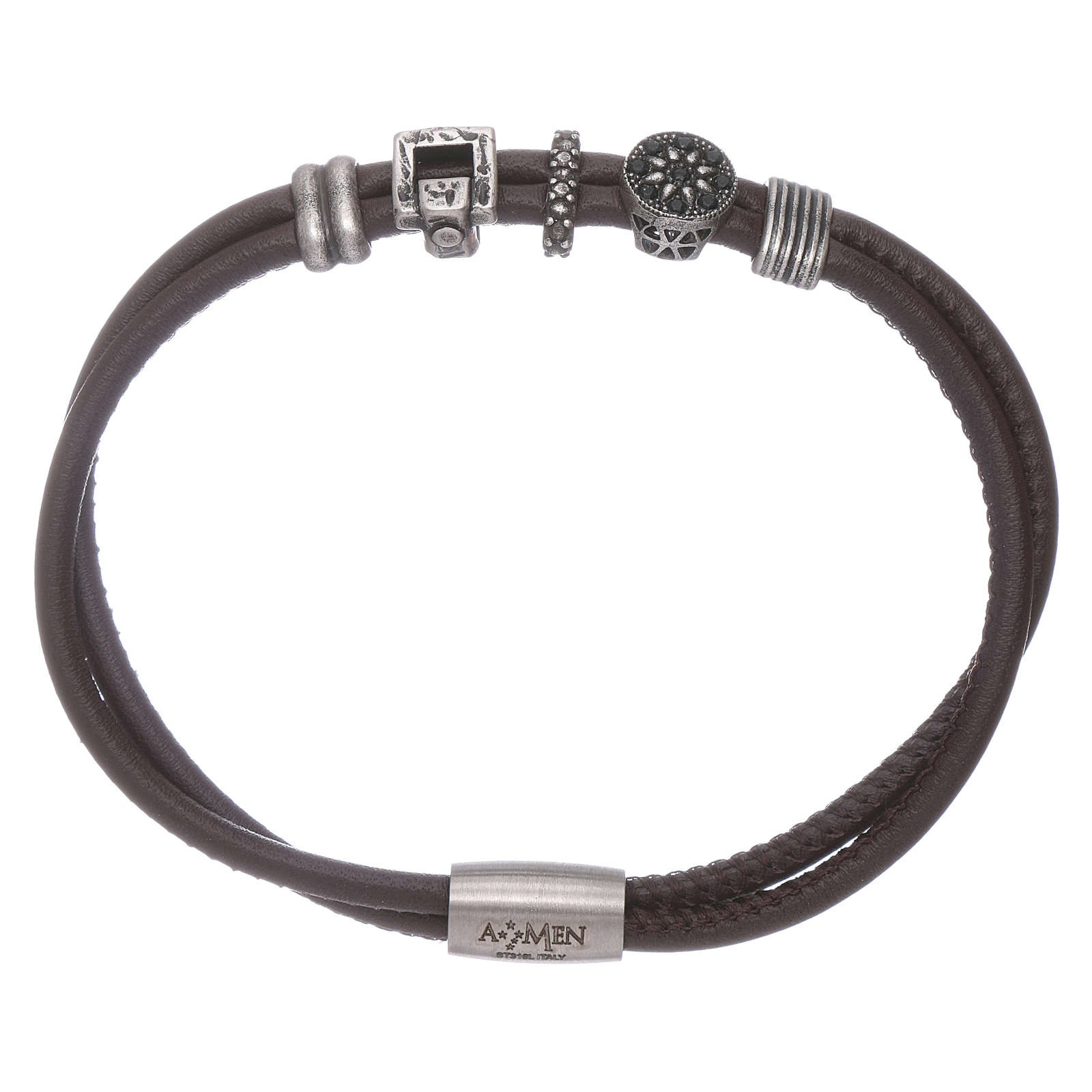 AMEN leather bracelet with bronze and zirconate charms 4