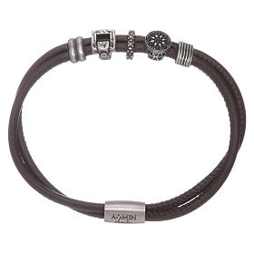 AMEN leather bracelet with bronze and zirconate charms s1