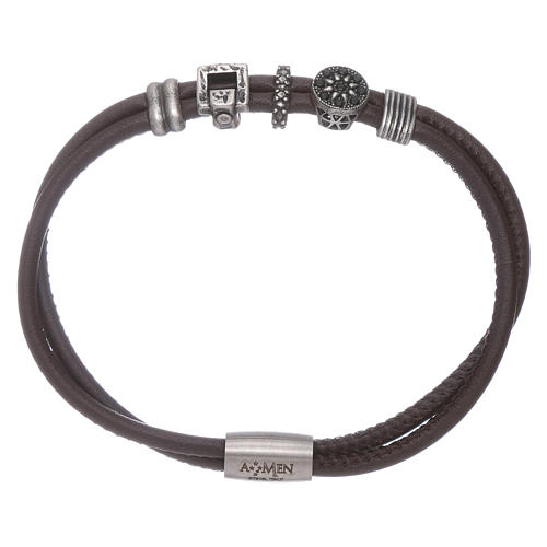 AMEN leather bracelet with bronze and zirconate charms 1