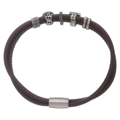 AMEN leather bracelet with bronze and zirconate charms 2