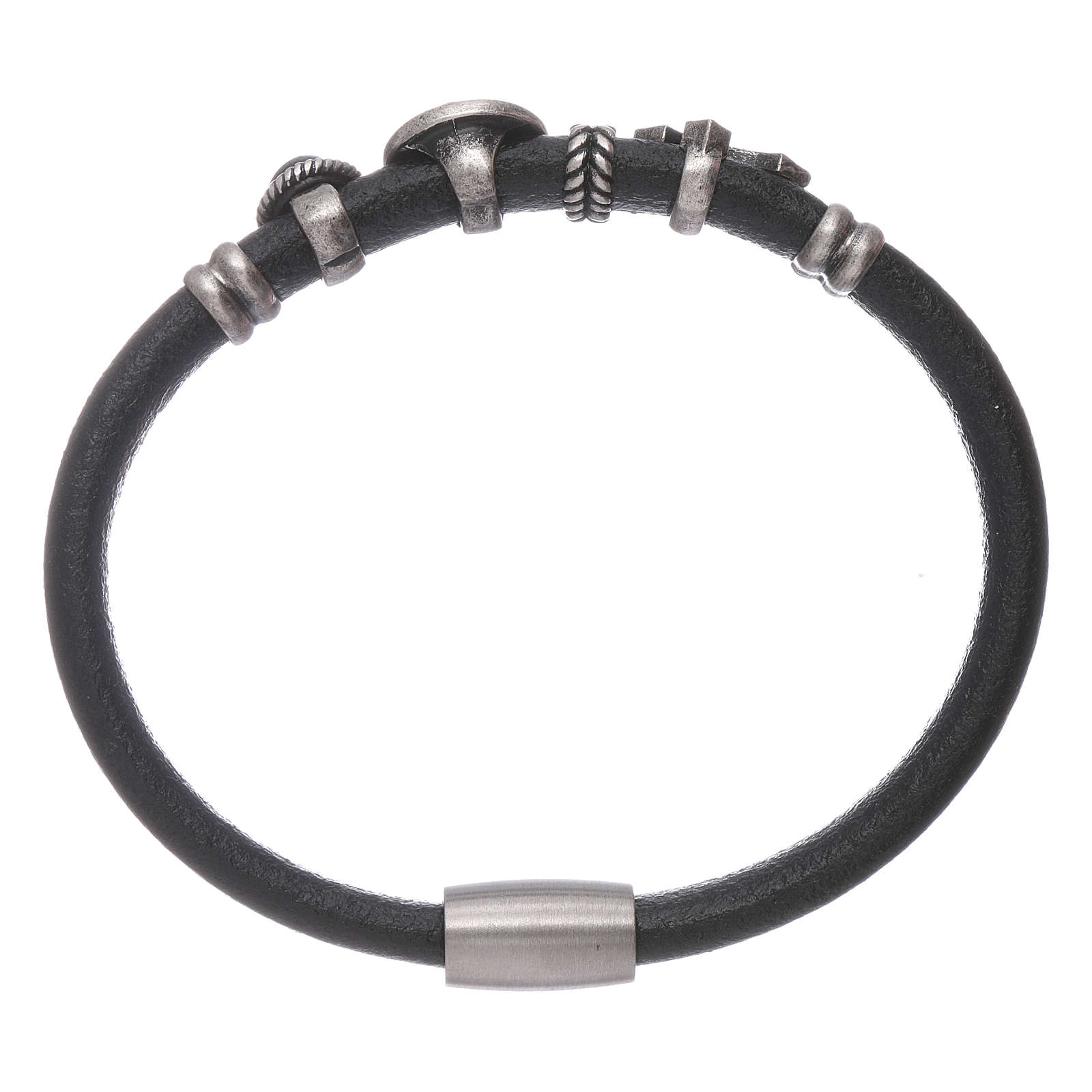 AMEN Saint Benedict leather bracelet with bronze charms 4
