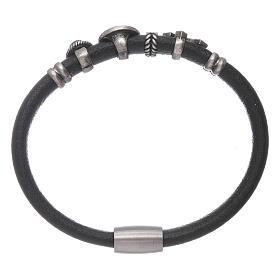 AMEN Saint Benedict leather bracelet with bronze charms s2