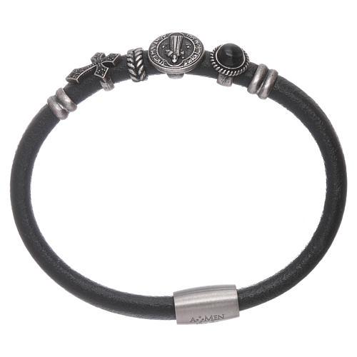 AMEN Saint Benedict leather bracelet with bronze charms 1