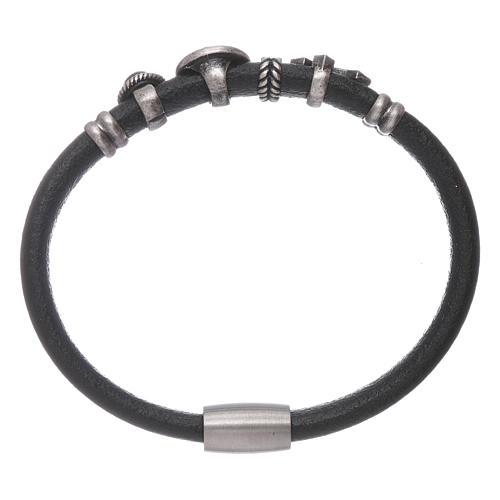 AMEN Saint Benedict leather bracelet with bronze charms 2