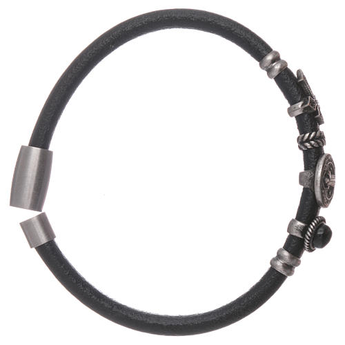 AMEN Saint Benedict leather bracelet with bronze charms 3