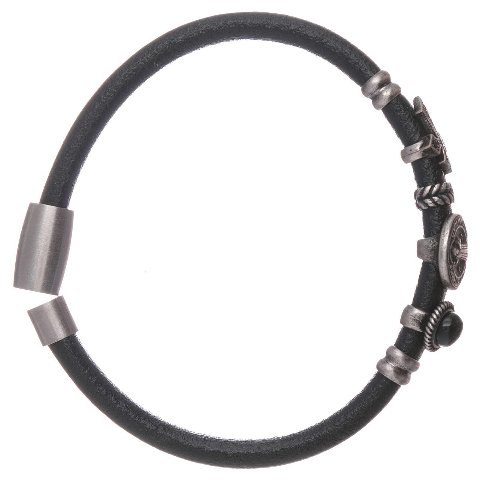 Bracelet AMEN en cuir charms en bronze St Benoît 4