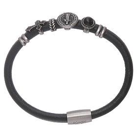 Bracelet AMEN en cuir charms en bronze St Benoît s1