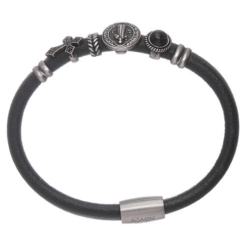 Bracelet AMEN en cuir charms en bronze St Benoît 1