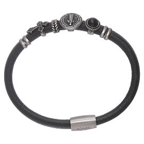 AMEN Saint Benedict leather bracelet with bronze charms s1