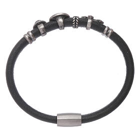 AMEN Saint Benedict leather bracelet with bronze charms s2