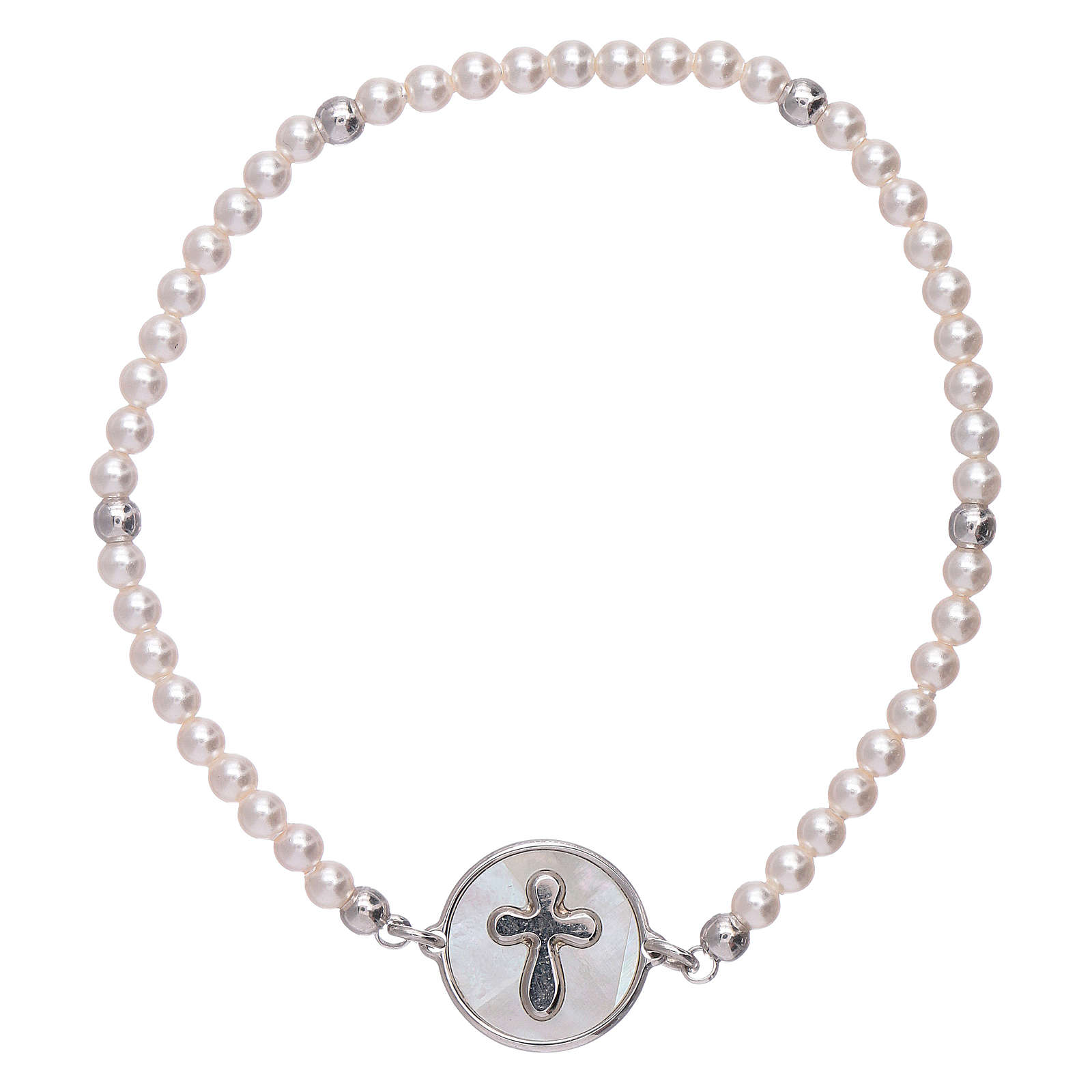 AMEN 925 sterling silver bracelet with a  mother of pearl cross medalet 4