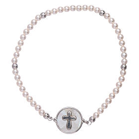 AMEN 925 sterling silver bracelet with a  mother of pearl cross medalet s1